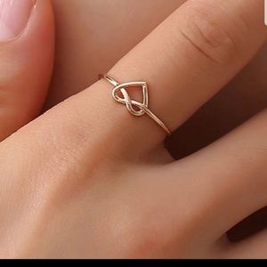 Dainty Rose Gold Heart Knot Ring, Love & Trendy